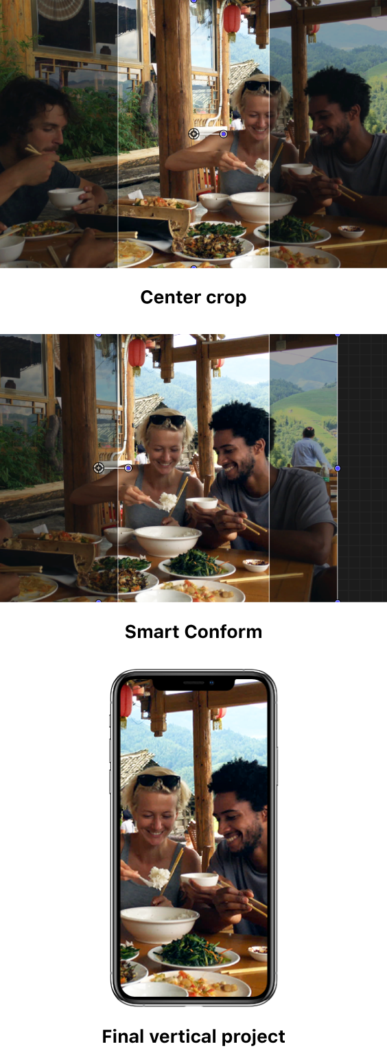 The first example shows a horizontal clip in a vertical project, with a default center crop that doesn't capture the main area of interest—the two people on the right side of the frame. The second example shows the same image reframed using Smart Conform, showing just the two people on the right. The third example shows the reframed image in the final vertical project on an iPhone screen.