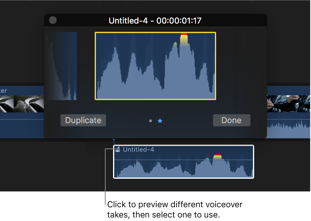 The timeline showing an audition clip with the audition window above