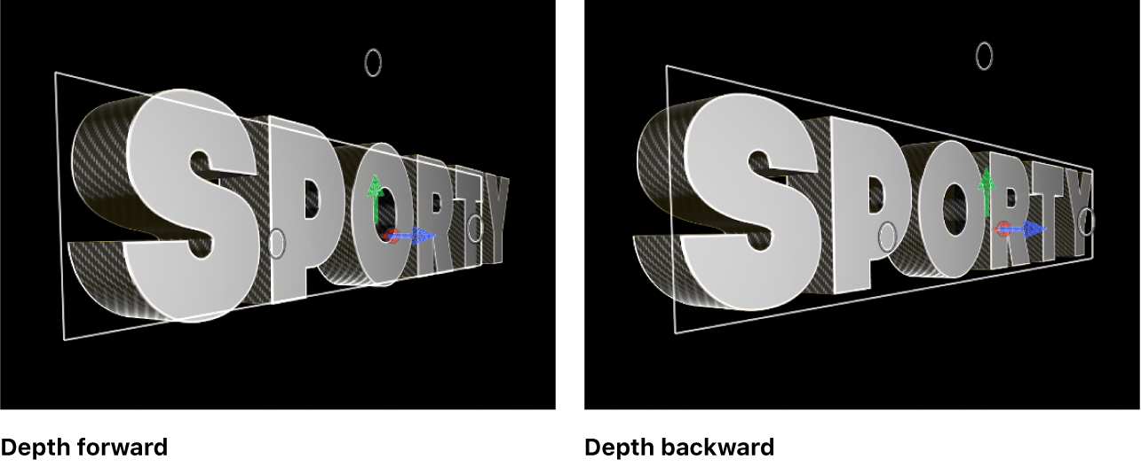 3D titles in the viewer showing Depth Direction set to Forward and Backward