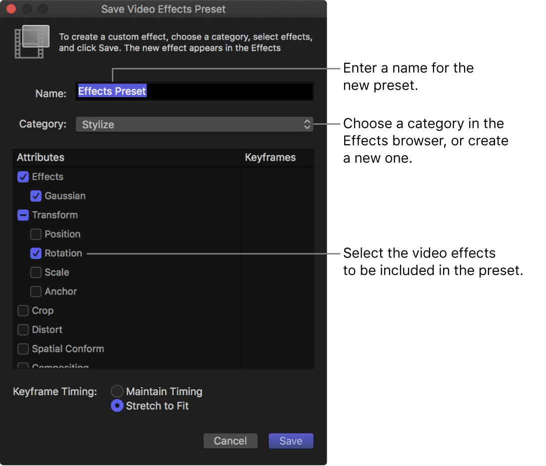 The Save Video Effects Preset window