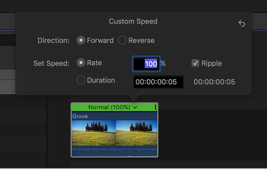 The timeline showing the Custom Speed window above a selected clip