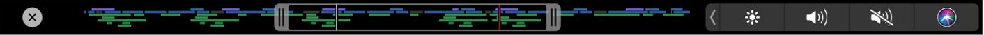 The Touch Bar showing the Timeline Navigation slider, with handles for setting the portion of the project that's visible in the timeline