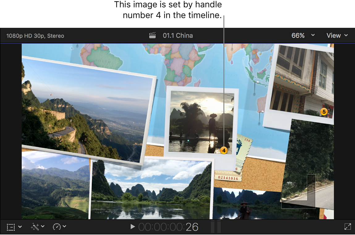 The viewer showing a transition with numbered still images