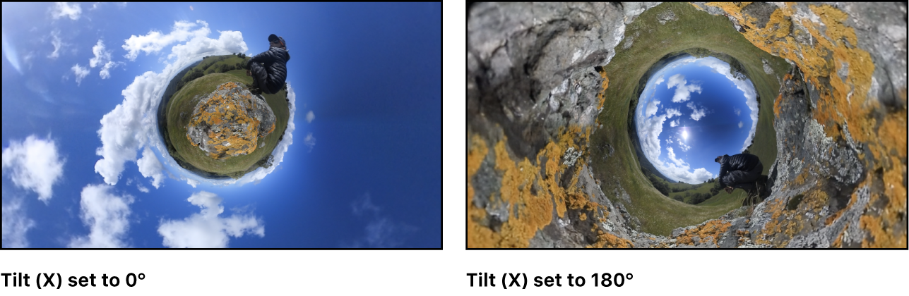 A tiny planet image on the left, with the Tilt parameter set to 0°, and the same image on the right with the Tilt parameter set to 180°, creating an inverted tiny planet