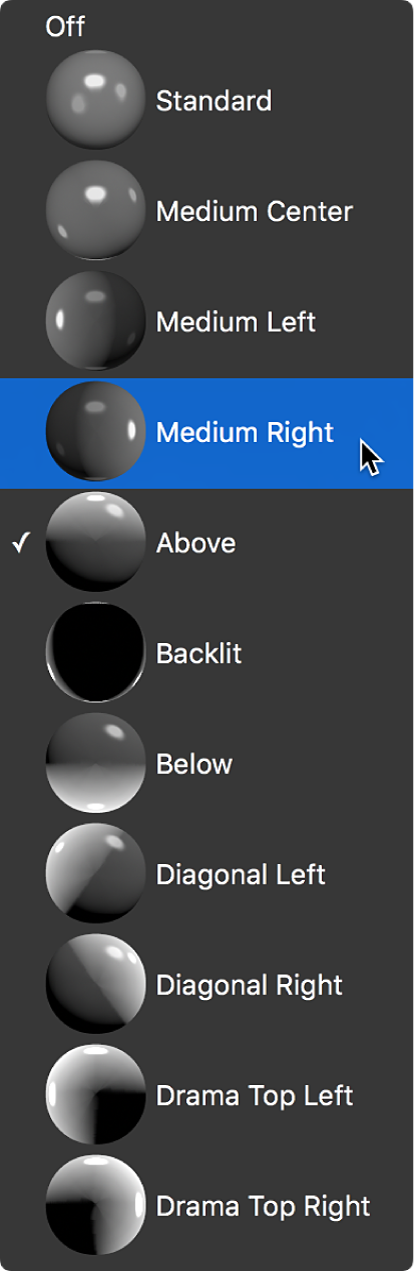 The Lighting Style pop-up menu in the Lighting section of the Text inspector, with Medium Right selected
