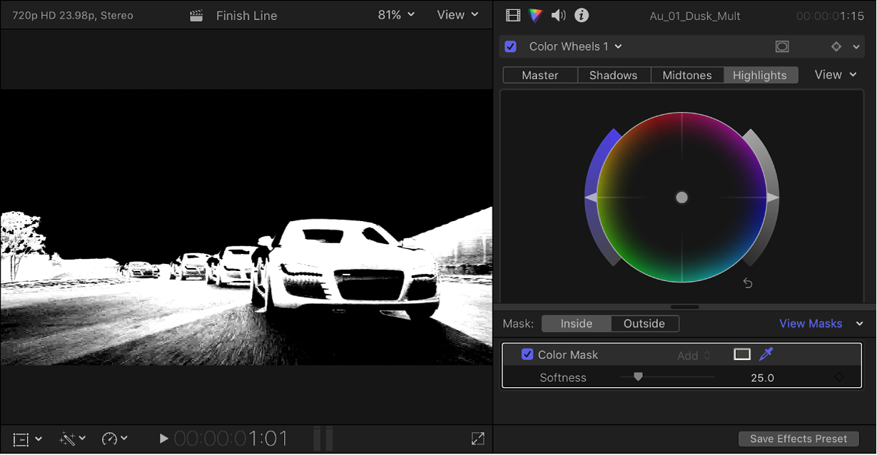 The Color inspector showing a Color Wheels effect, and the color mask alpha channel appearing in the viewer