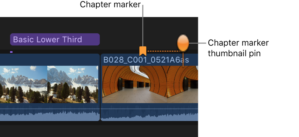 A chapter marker and a chapter marker thumbnail pin on a clip in the timeline