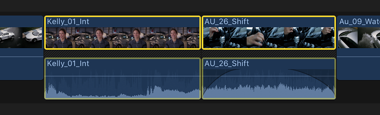 Two adjacent clips in the timeline shown with expanded audio