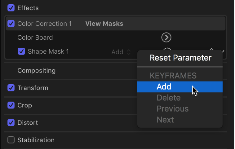A pop-up menu with options to add or delete keyframes