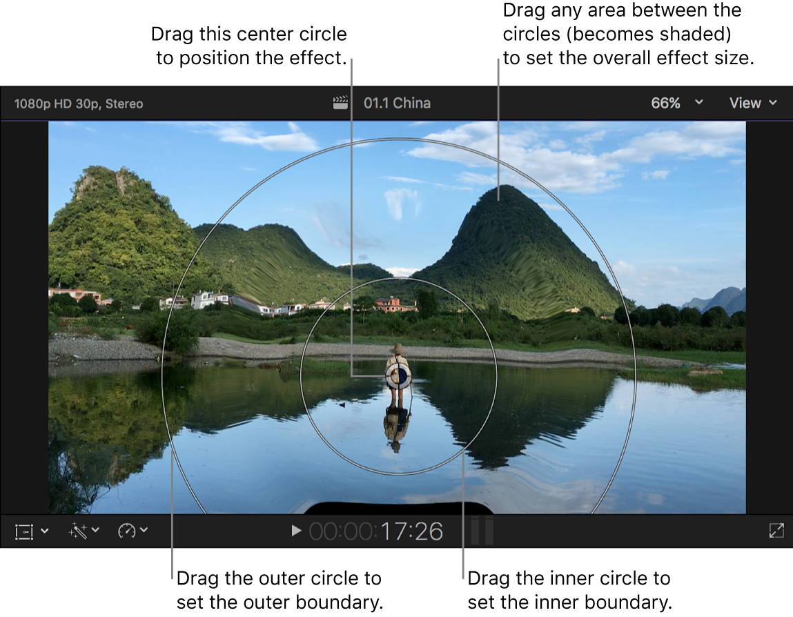The viewer showing the Droplet effect onscreen controls
