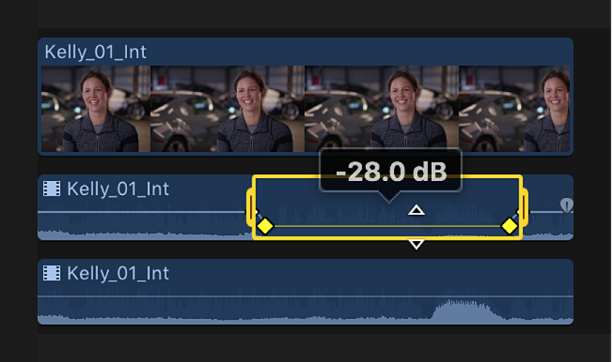 A selected range in an audio component in the timeline before volume is adjusted