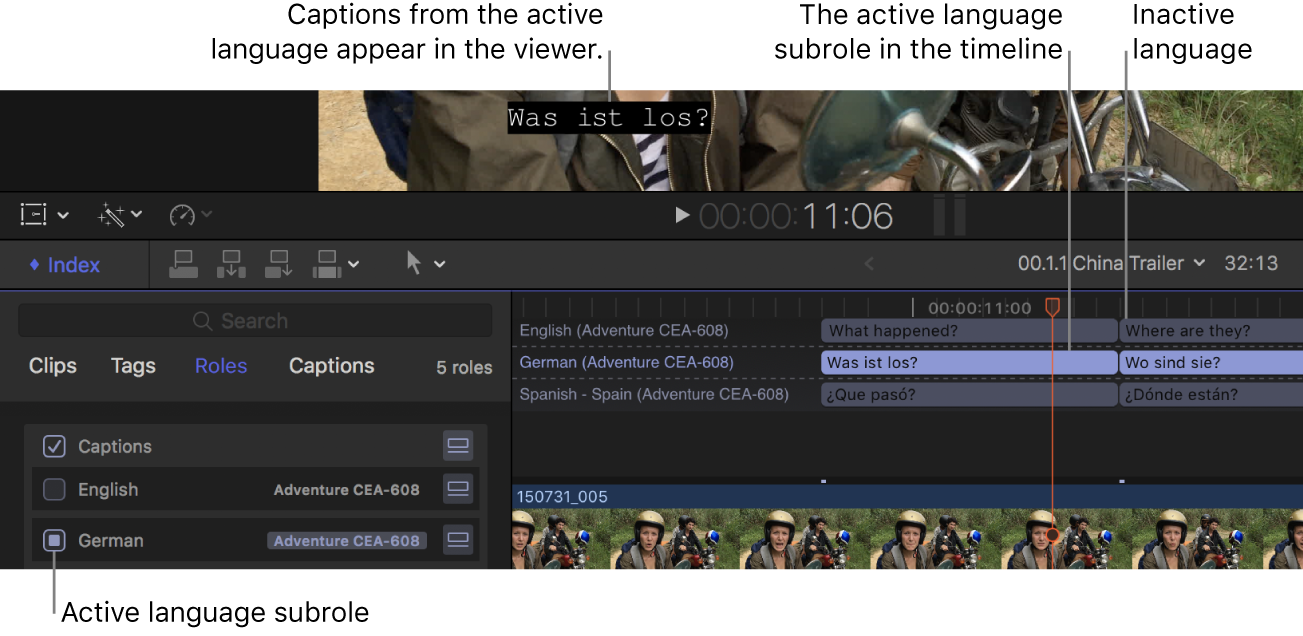 A German caption appearing in the viewer, the German language subrole selected in the timeline index, and German caption clips appearing highlighted in the timeline