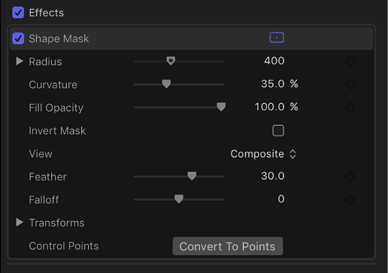 The Shape Mask controls in the Video inspector