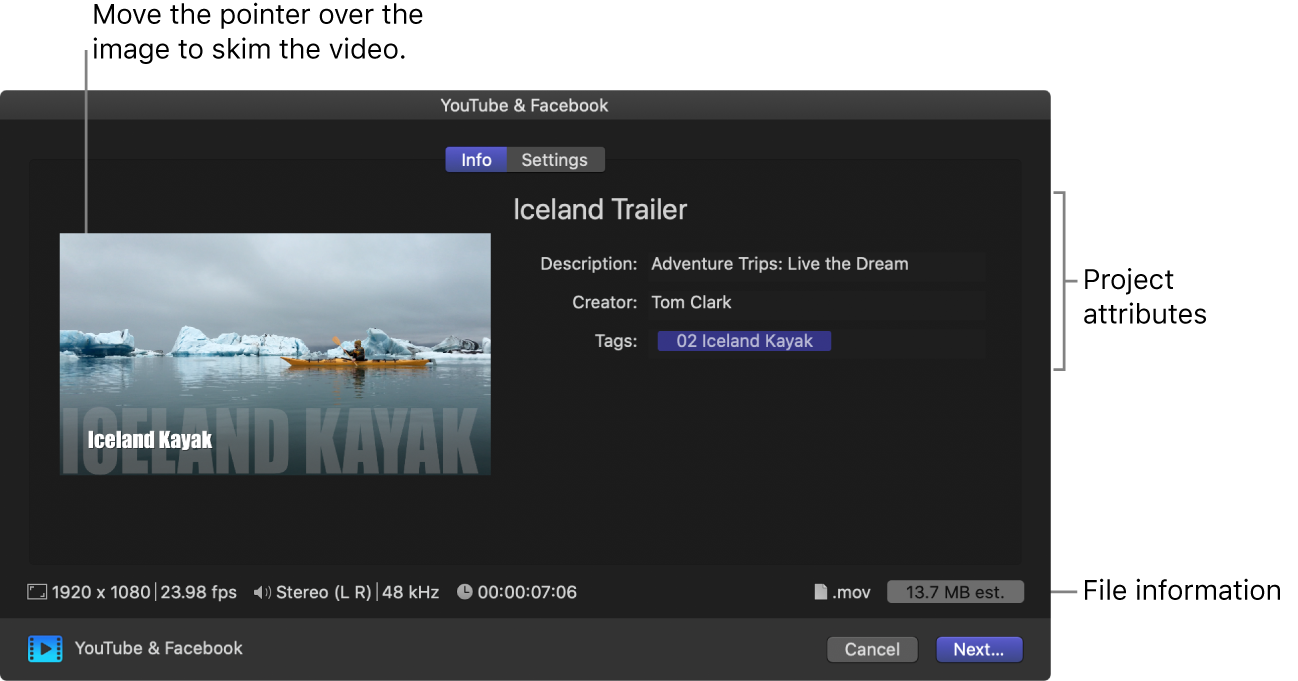 The Info pane of the Share window for the YouTube & Facebook destination