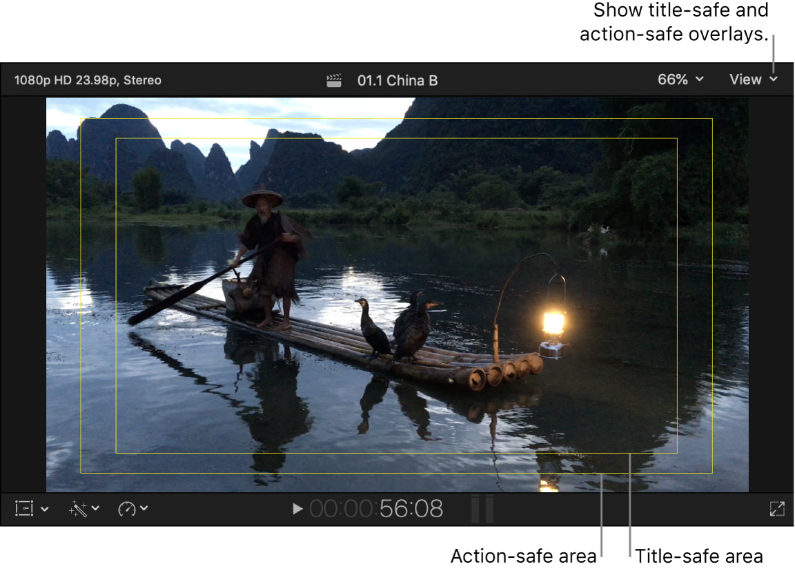 The viewer showing title-safe and action-safe areas
