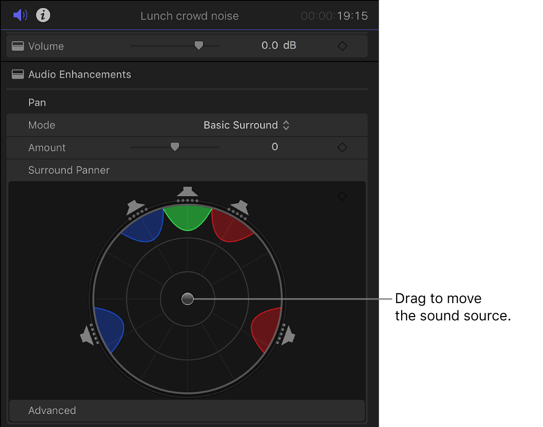 The Surround Panner controls in the Volume and Pan section of the Audio inspector