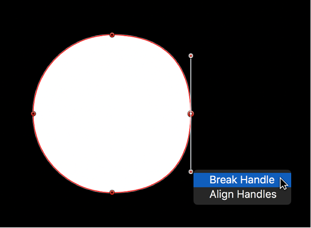 The viewer showing the shortcut menu for a tangent handle point, with Break Handle and Align Handles options