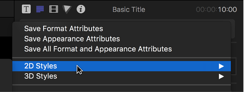 The 2D Styles option being chosen from the pop-up menu at the top of the Text inspector