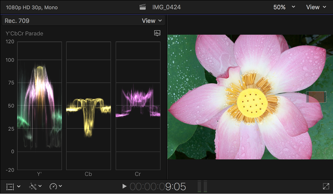 The Y'CbCr Parade waveform monitor shown to the left of the viewer