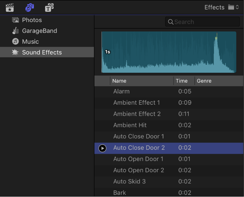 The Photos and Audio sidebar showing the Sound Effects category selected, and the browser showing a list of sound effects clips