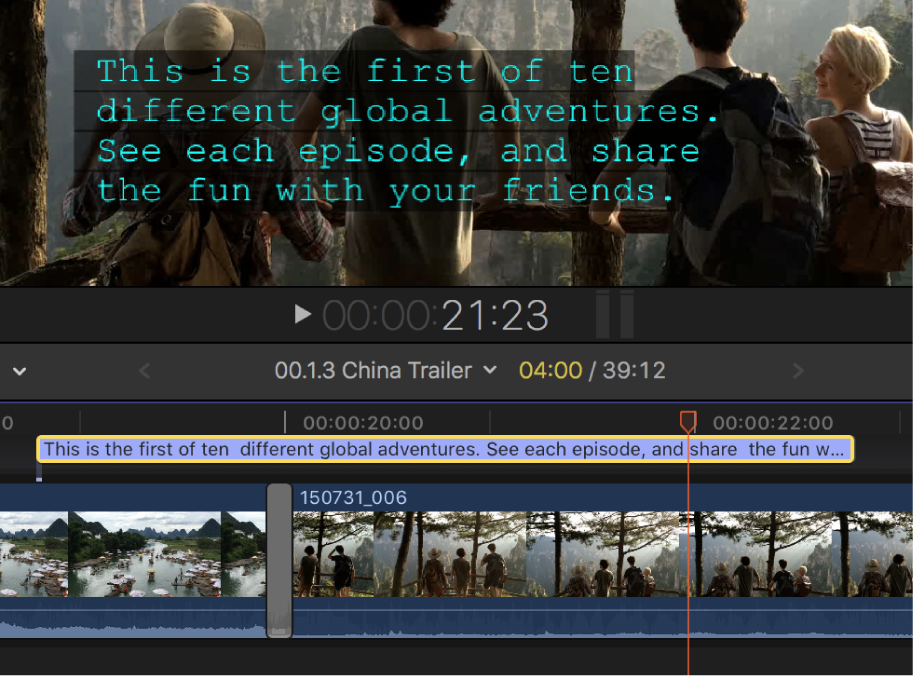A four-line caption in the viewer and the timeline
