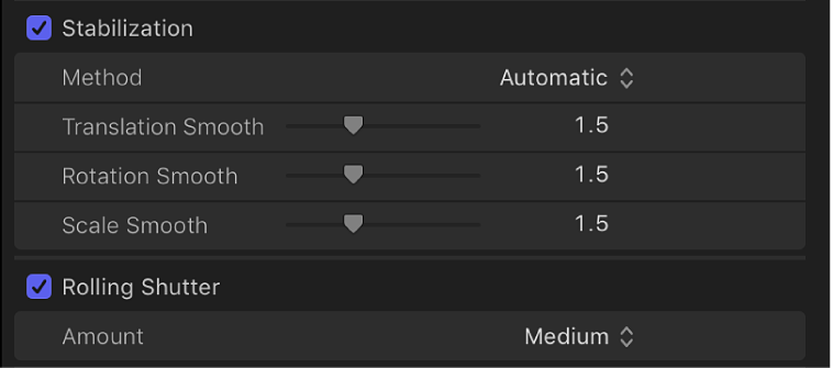 The Stabilization and Rolling Shutter controls in the Video inspector