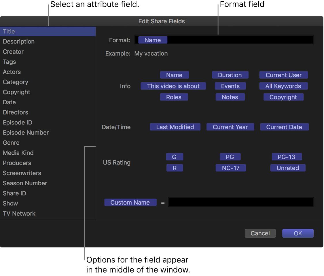 The Edit Share Fields window