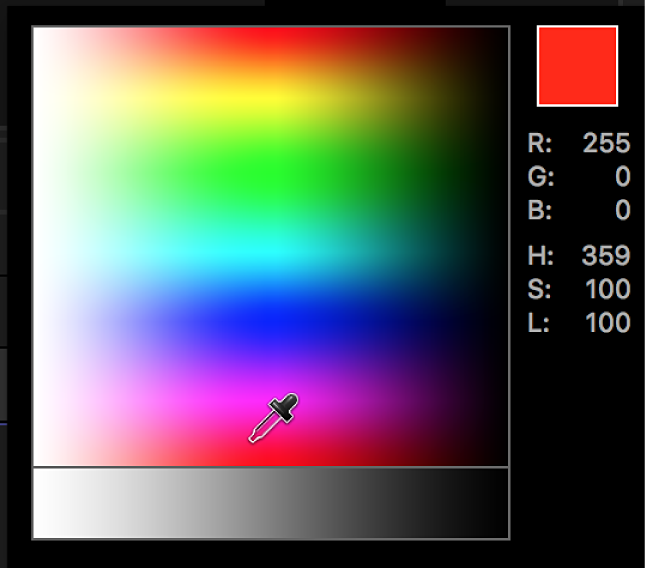 The eyedropper control in the pop-up color palette