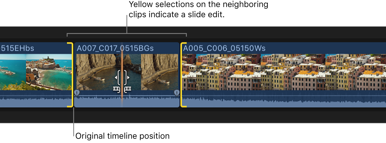 A clip being Option-dragged in the timeline, with yellow selections on the adjacent clips indicating a slide edit