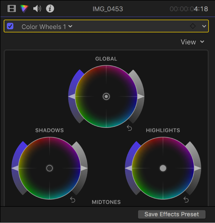 Color wheels in the Color inspector