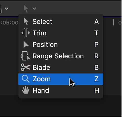 The Zoom tool in the Tools pop-up menu