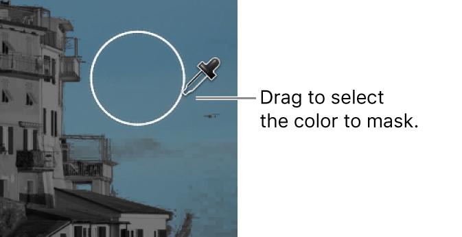 El cuentagotas de la máscara de color mientras se arrastra sobre una imagen del visor