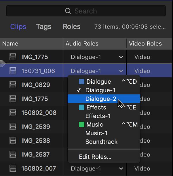 """La columna """"Funciones de audio"""" del panel Clips del índice de la línea de tiempo con un menú que muestra las subfunciones disponibles"""