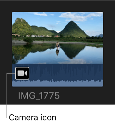 Icono de cámara en clip parcialmente importado