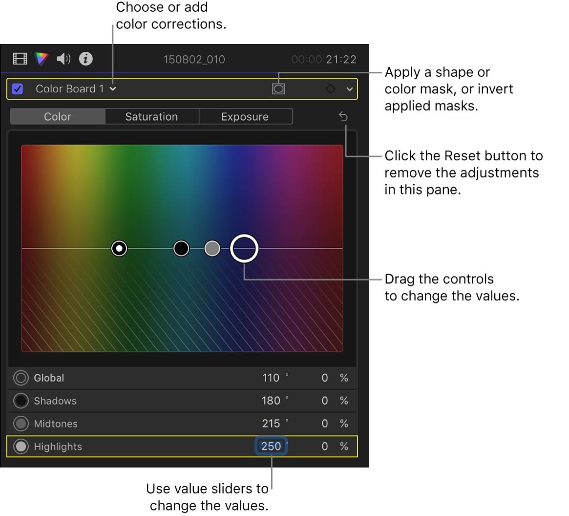 Controles del tablero de color