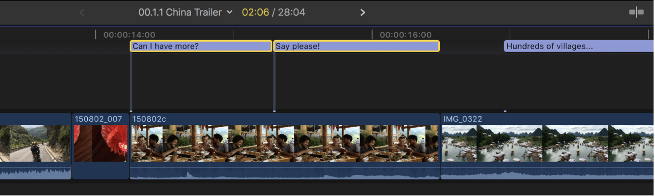 La línea de tiempo con dos clips de subtítulos juntos que no se solapan y ya no están en rojo