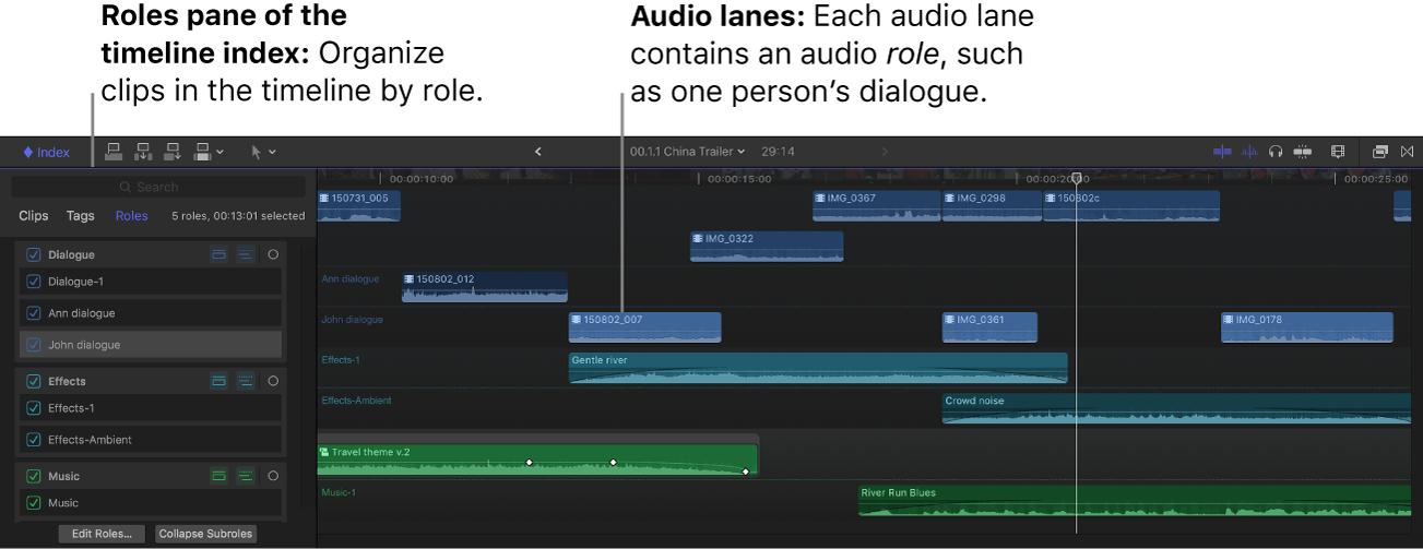 La línea de tiempo con líneas de audio y una función seleccionada en el índice de la línea de tiempo