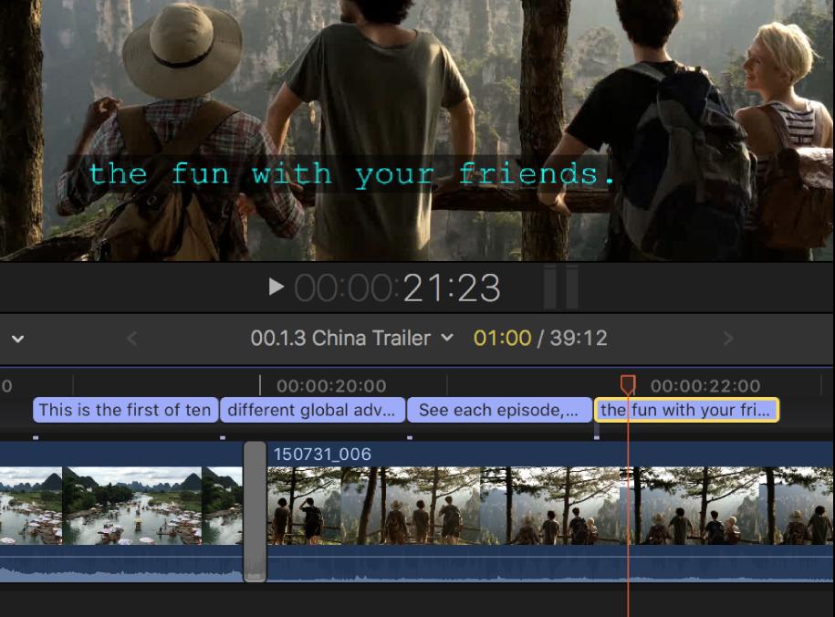 Un subtítulo de una sola línea en el visor, y cuatro subtítulos de una sola línea contiguos en la línea de tiempo