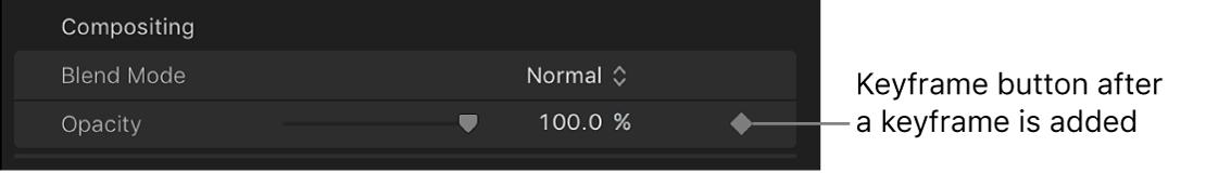 """El botón """"Fotograma clave"""" del parámetro Opacidad activado en el inspector de vídeo"""