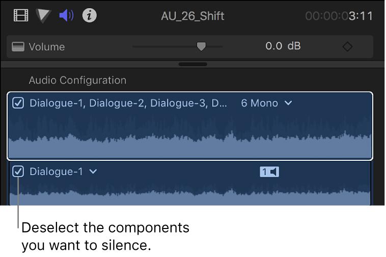 """Casillas de componentes de audio en la sección """"Configuración de audio"""" del inspector de audio"""