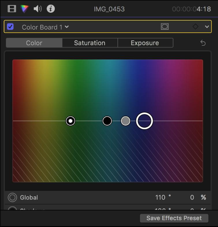 """El inspector de color con controles en el panel Color del """"Tablero de colores"""""""