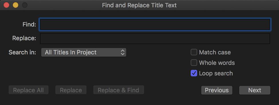 """La ventana """"Buscar y reemplazar texto de título"""""""