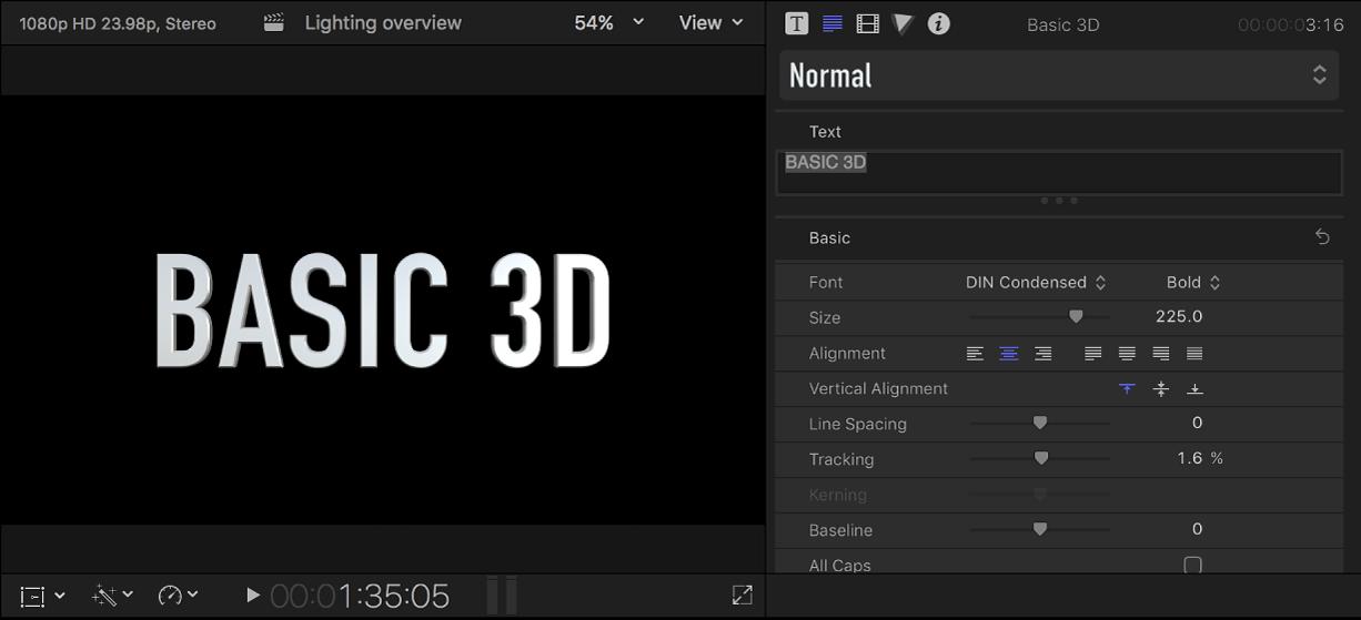 Un título 3D en el visor con los ajustes por omisión mostrados en el inspector de texto