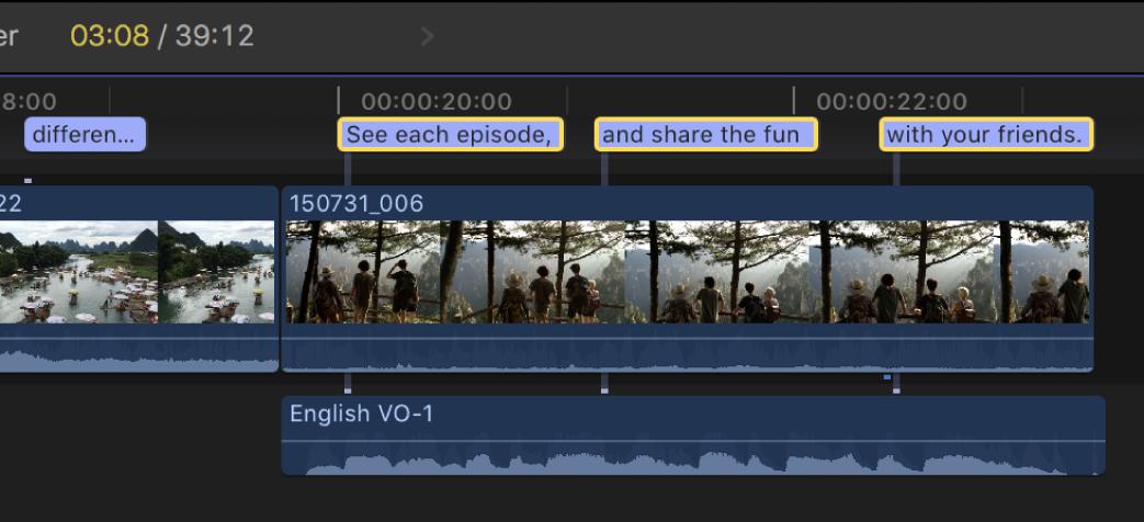 Tres subtítulos seleccionados en una fila en la línea de tiempo