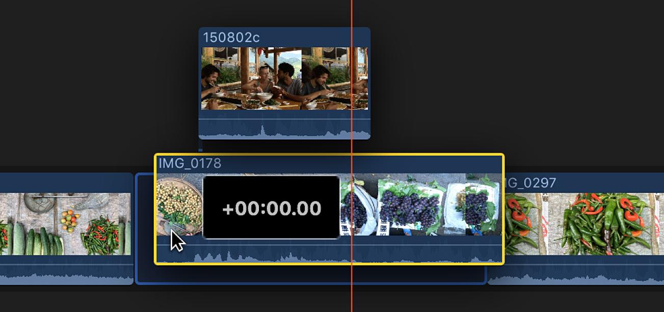 Desplazamiento de un clip conectado junto con el clip al que estás conectado