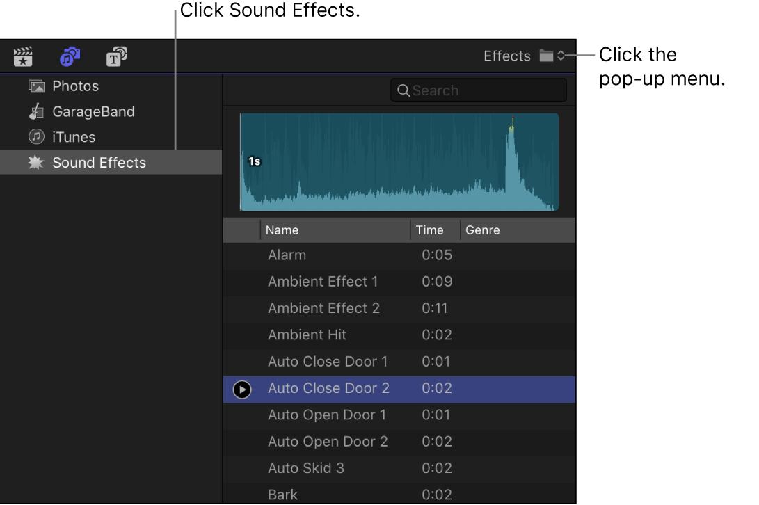 """La barra lateral """"Fotos y audio"""" con la categoría de efectos de sonido seleccionada y el explorador con una lista de clips de efectos sonoros"""