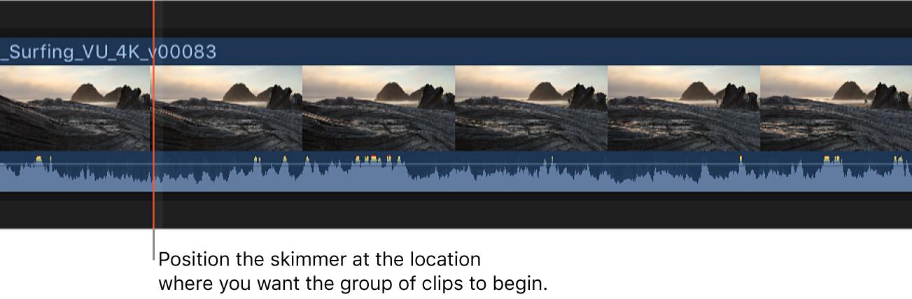 Skimmer situado en un clip en la línea de tiempo