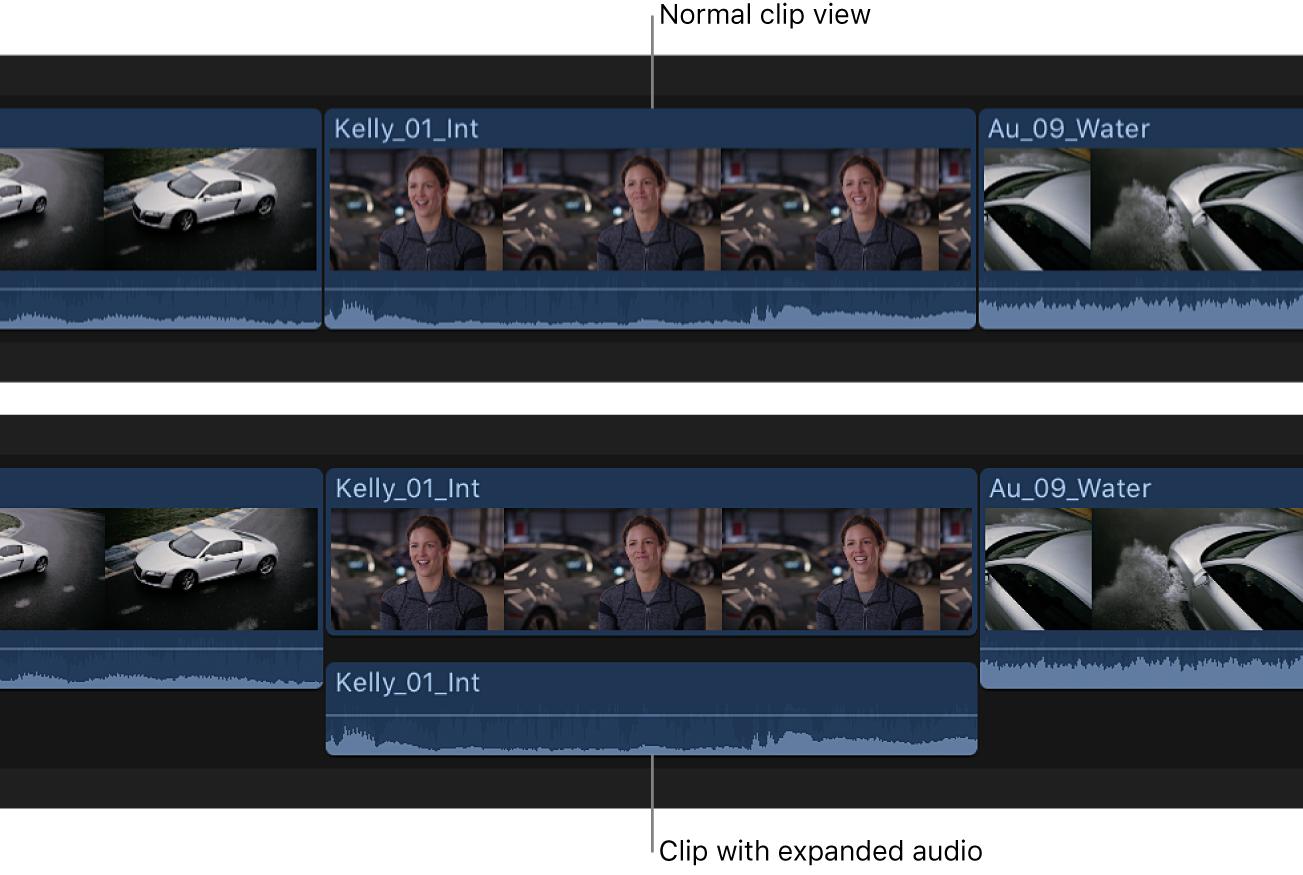 Clip en la línea de tiempo antes y después de expandir los componentes de audio