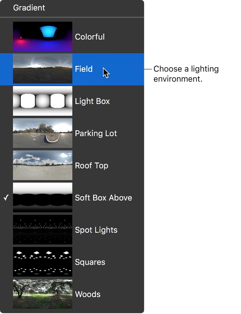 Entornos de iluminación predefinidos en el menú desplegable Tipo