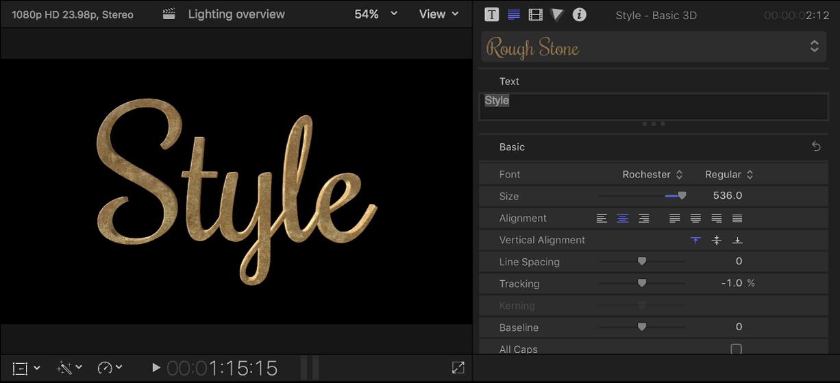 Un título 3D en el visor con los ajustes de texto personalizados mostrados en el inspector de texto